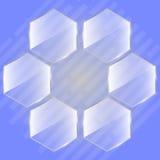Glashexagon als Bienenwabe oder Blume Frische Milch mit Blättern und Blumen Lizenzfreies Stockfoto