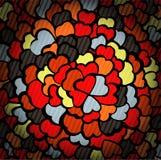 Glashintergrund mit dunklen Mosaikherzen Lizenzfreies Stockbild