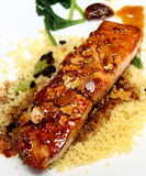 Glasig-glänzende Lachse mit geschnittenen Mandeln auf Kuskus stockfotos