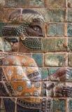 Glasig-glänzendes Ziegelstein-Fries des persischen Achaemenid-Kriegers von Susa Lizenzfreie Stockfotografie