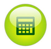 Glasige grüne Rechner-Ikone Stockbilder