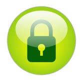 Glasige grüne Verriegelungs-Ikone Lizenzfreie Stockfotografie