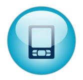 Glasige Ikone des Blau-PDA stock abbildung