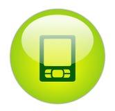 Glasige Ikone des Grün-PDA lizenzfreie abbildung