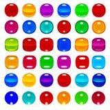 glasige Kugeln und Tasten der Farbe 3d eingestellt stock abbildung