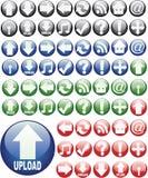 Glasige runde Web-Tasten Stockfoto