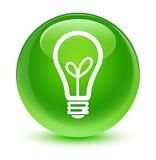 Glasiger grüner runder Knopf der Birnenikone Stockfotos