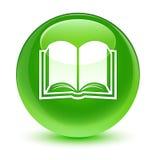 Glasiger grüner runder Knopf der Buchikone Stockbild