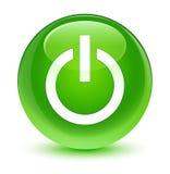 Glasiger grüner runder Knopf der Energieikone Stockfoto