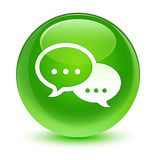 Glasiger grüner runder Knopf der Gesprächsblasen-Ikone Lizenzfreie Stockbilder