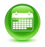 Glasiger grüner runder Knopf der Kalenderikone Lizenzfreie Stockfotos