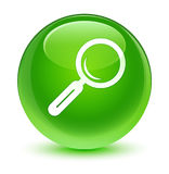 Glasiger grüner runder Knopf der Lupenikone Stockfotografie