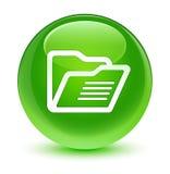 Glasiger grüner runder Knopf der Ordnerikone Lizenzfreie Stockfotos