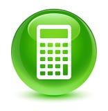Glasiger grüner runder Knopf der Taschenrechnerikone Stockfotografie