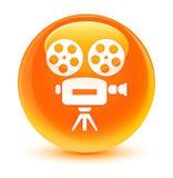 Glasiger orange runder Knopf der Videokameraikone Stockfotos