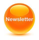 Glasiger orange runder Knopf des Newsletters Stockbild