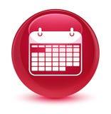 Glasiger rosa runder Knopf der Kalenderikone Lizenzfreies Stockfoto