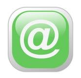 Glasiges grünes Quadrat an der Kinetik-Ikone Stockfotos