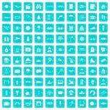 100 Glasikonen stellten Schmutz blau ein Lizenzfreies Stockbild