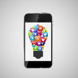 Glasknopf-Ikonen-gesetzte Lampen-Idee auf Handy-Konzept. Vektor Stockbilder
