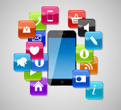 Glasknopf-Ikonen und Telefon. Vektor-Illustration Lizenzfreies Stockbild
