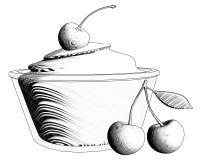 Glaskom witte die yoghurt met kersen op witte backg worden geïsoleerd stock illustratie