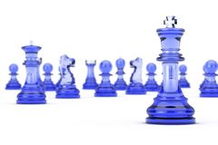 Glaskoning Chess voor Vele Schaakcijfers het 3d teruggeven Royalty-vrije Stock Afbeelding