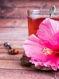 Glaskop met de rode bloem van de thee roze hibiscus op donkere houten achtergrond Royalty-vrije Stock Afbeelding