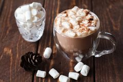 Glaskop van cacao met heemst stock afbeeldingen