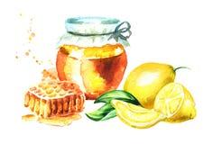 Glaskruik met vers honing, honingraat en citroenfruit Waterverfhand getrokken illustratie Royalty-vrije Stock Afbeeldingen