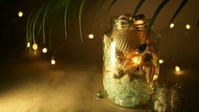Glaskruik van tropische shells voor huisdecor De mariene toebehoren van het stijlhuis voor strand als thema hadden het binnenland stock video