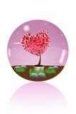Glaskugel des Liebesbaums Lizenzfreie Stockbilder