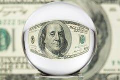Glaskugel, Dollar, vier stockfotos