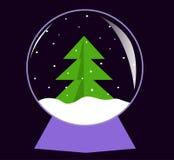 Glaskugel mit Weihnachtsbaum Lizenzfreie Stockfotos