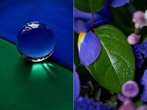 Glaskugel oder Wassertropfen auf einem Hintergrund des grünen und blauen Samtpapiers Säubern Sie und glänzen Sie Stockfotos