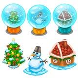 Glaskugel-, Weihnachtsbaum, Schneemann und Haus Lizenzfreies Stockbild