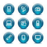 Glaskugelweb-Ikonen, Set 16 Lizenzfreie Stockbilder