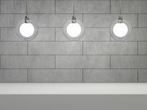 Glaslamp in ruimte met concrete muur en plaats voor tekst 3d Royalty-vrije Stock Foto