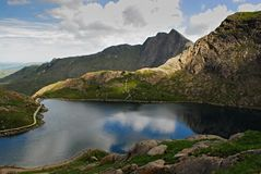 Glaslyn Lake, Miners` Track, Snowdonia, Wales stock photography