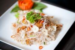 Glasnoedel, Varkensvlees, Noot Kruidige Salade stock afbeeldingen