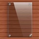 Glasplaat op de achtergrondmuur van houten planken stock illustratie