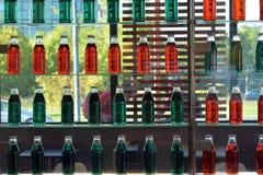Glasregale der grünen und roten Flaschenwand im Restaurant mit Glasfenster im Hintergrund Lizenzfreies Stockbild