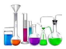 Glasrohr mit verschiedenen chemischen flüssigen Bestandteilen Labor-eqipment vektor abbildung