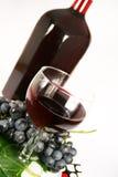 Glasrotwein und Traube Lizenzfreies Stockbild