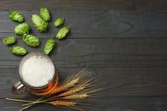 Glass öl med flygturkottar och vete gå i ax på mörk träbakgrund Ölbryggeribegrepp bakgrundsöl innehåller lutningingreppet Top bes royaltyfri bild
