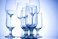 Glass. Blue glass. Creative background with glasses. Abstract wineglass Royalty Free Stock Images
