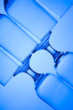Glass. Blue glass. Creative background with glasses Royalty Free Stock Images