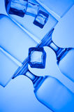Glass. Blue glass. Creative background with glasses Stock Photo
