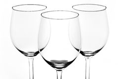 Glass. Black and white close up of three glass royalty free stock photography