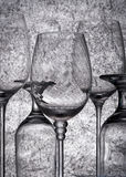 Glass. Dark glass. Creative background with glasses. Abstract wineglass Stock Images